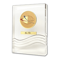 Acrylic Trophies - Bronze Medal on a Wave Trophy with an Engraved Plate