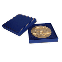 A Larger Blue Gift Box - For 81mm / 3.2″ medals - Measures: 10.5 x 10.5 x 1.5cm - 4.1 x 4.1 x 0.6″