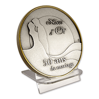 Blue Gift Box - A medal displayed on the small acrylic support