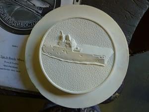 A carved resin model